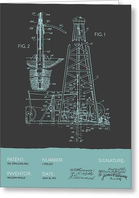 Oil Industry Greeting Cards - Oil drilling rig Patent from 1911 - Gray Blue Greeting Card by Aged Pixel