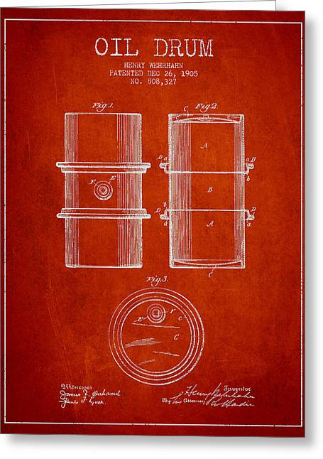 Barrel Greeting Cards - Oil Drum Patent Drawing From 1905 Greeting Card by Aged Pixel
