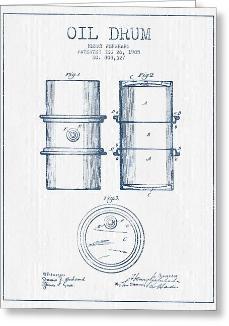 Barrel Greeting Cards - Oil Drum Patent Drawing From 1905 -  Blue Ink Greeting Card by Aged Pixel