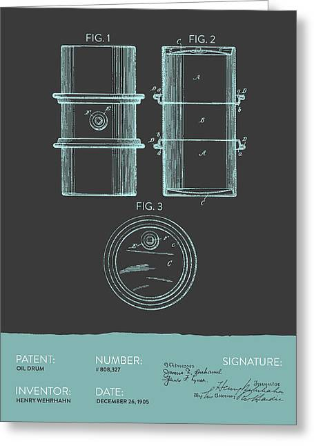 Barrel Greeting Cards - Oil Drum Patent From 1905- Gray Blue Greeting Card by Aged Pixel
