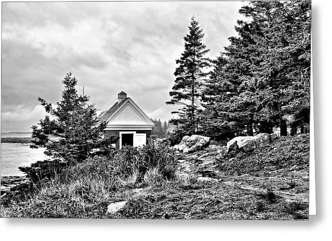 Maine Shore Greeting Cards - Oil House Greeting Card by Nikolyn McDonald