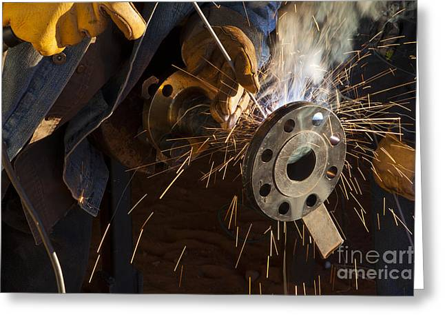 Spark Greeting Cards - Oil Industry Pipefitter Welder Greeting Card by Keith Kapple