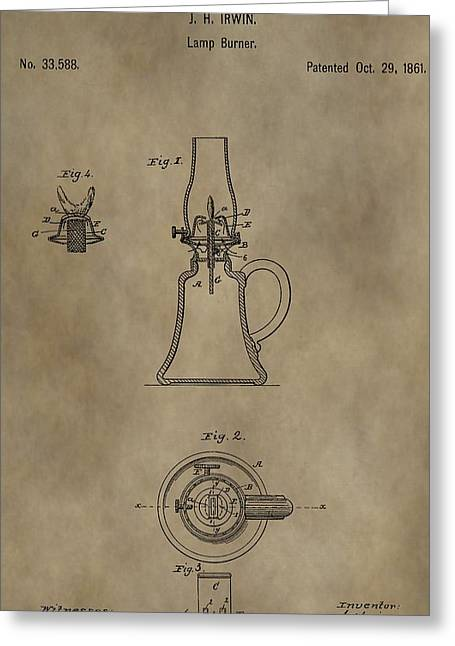 Oil Lamp Mixed Media Greeting Cards - Oil Lamp Patent Greeting Card by Dan Sproul