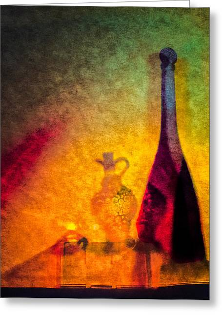 Vinegar Digital Greeting Cards - Oil Lamp with Oil and Vinegar Greeting Card by Georgianne Giese
