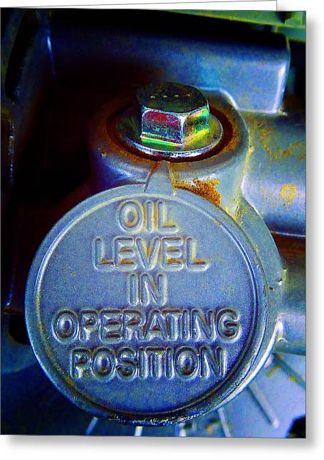 Circular Saw Greeting Cards - Oil Level X Greeting Card by Laurie Tsemak