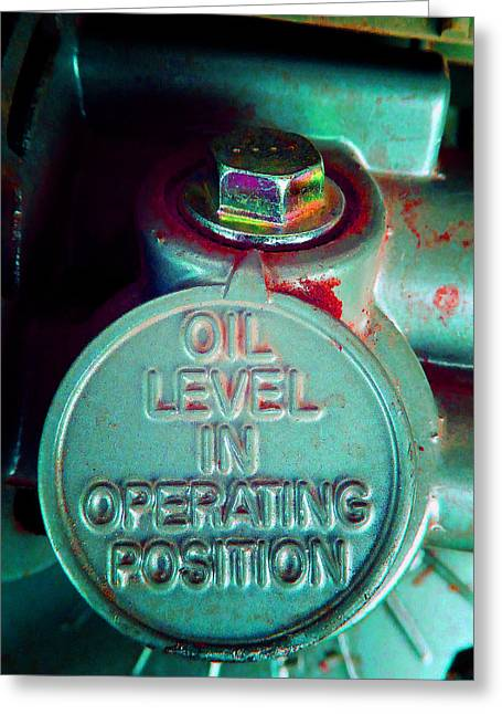 Circular Saw Greeting Cards - Oil Level Y Greeting Card by Laurie Tsemak