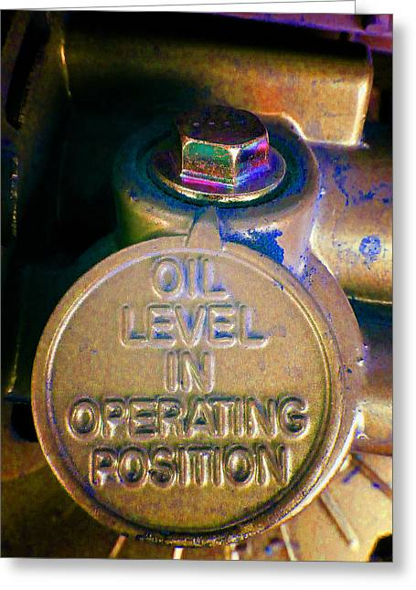 Circular Saw Greeting Cards - Oil Level Z Greeting Card by Laurie Tsemak