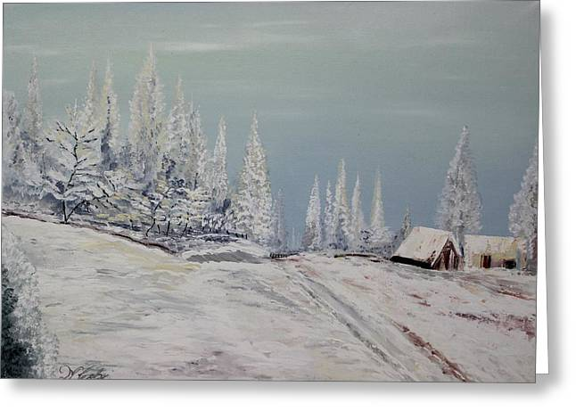 Snow Scene Landscape Greeting Cards - Oil MSC 010  Greeting Card by Mario Sergio Calzi
