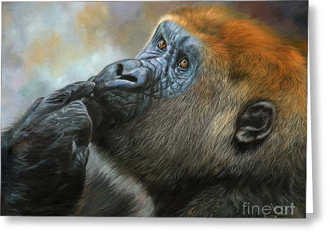 Oil Painter Photographs Greeting Cards - Oil on Canvas-Print-Gorilla Day Dreams Greeting Card by Adrian Tavano