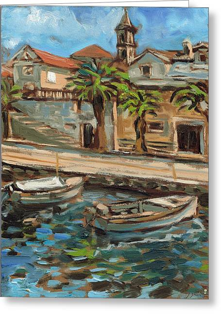 Sailboats In Harbor Greeting Cards - Oil on canvas prints Adriatic sea fishing boats harbor island Greeting Card by Jerica  Gracin