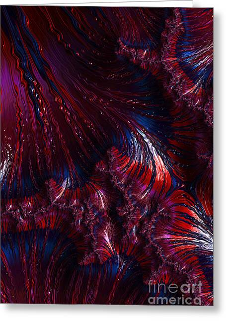 Oil Slick Greeting Cards - Oil On Water - A Fractal Abstract Greeting Card by Ann Garrett