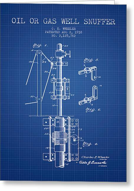 Gass Greeting Cards - Oil or Gas Well snuffer patent from 1938 - Blueprint Greeting Card by Aged Pixel