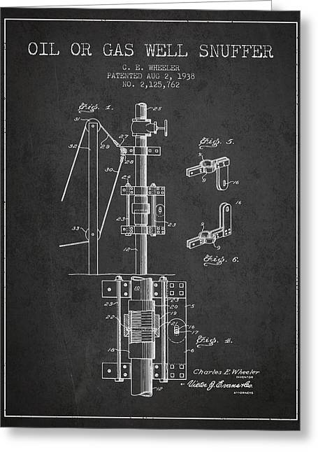 Gass Greeting Cards - Oil or Gas Well snuffer patent from 1938 - Charcoal Greeting Card by Aged Pixel