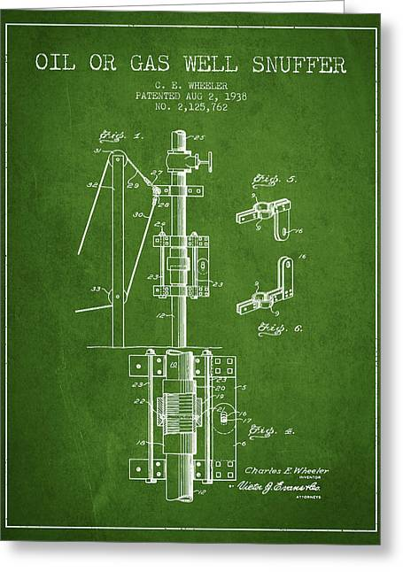 Gass Greeting Cards - Oil or Gas Well snuffer patent from 1938 - Green Greeting Card by Aged Pixel
