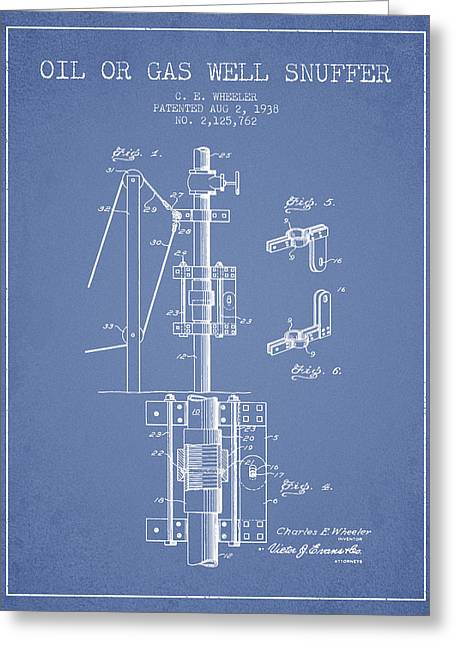 Gass Greeting Cards - Oil or Gas Well snuffer patent from 1938 - Light Blue Greeting Card by Aged Pixel