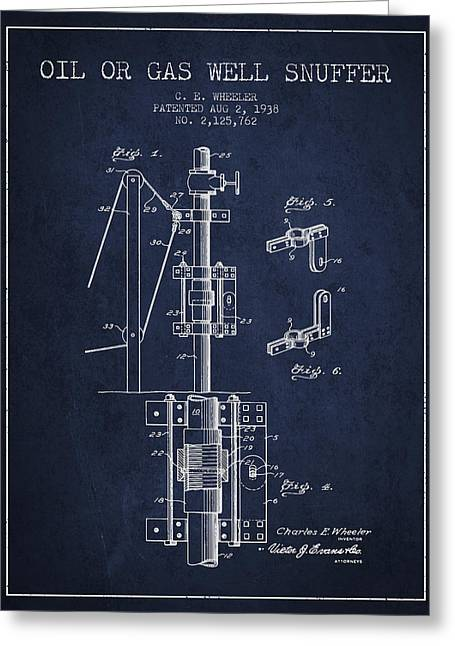 Gass Greeting Cards - Oil or Gas Well snuffer patent from 1938 - Navy Blue Greeting Card by Aged Pixel