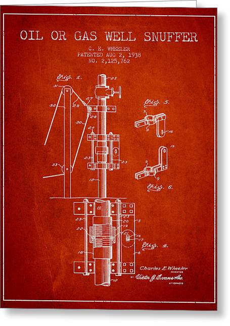 Gass Greeting Cards - Oil or Gas Well snuffer patent from 1938 - Red Greeting Card by Aged Pixel