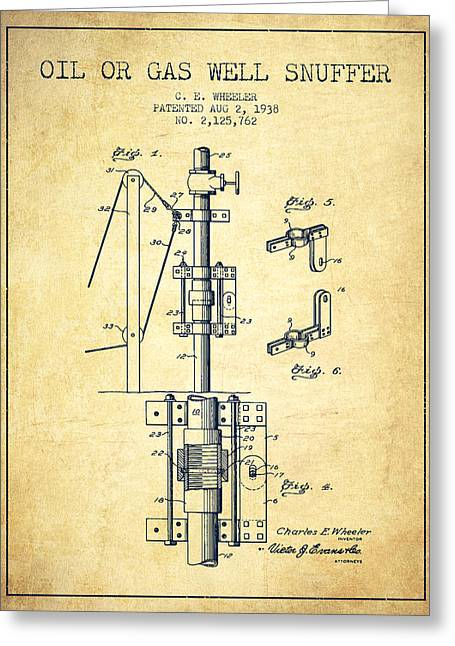 Gass Greeting Cards - Oil or Gas Well snuffer patent from 1938 - Vintage Greeting Card by Aged Pixel