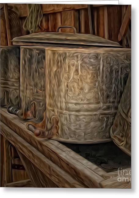 Farm Bucket Greeting Cards - Oil Painted Buckets Greeting Card by Brian Mollenkopf