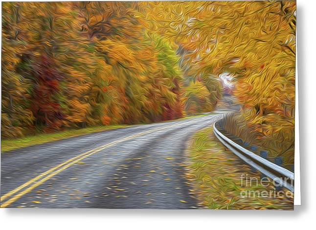 Yellow Line Greeting Cards - Oil Painted Country Road Greeting Card by Brian Mollenkopf