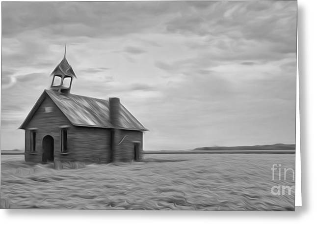 School Houses Greeting Cards - Oil Painted One Roon Schoolhouse Greeting Card by Brian Mollenkopf