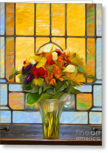 Wedding Chapel Greeting Cards - Oil Painted Stained Glass and Bridal Bouquet Greeting Card by Brian Mollenkopf