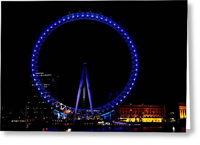 Londoneye Greeting Cards - Oil Painting - London Eye in blue light at night Greeting Card by Ashish Agarwal