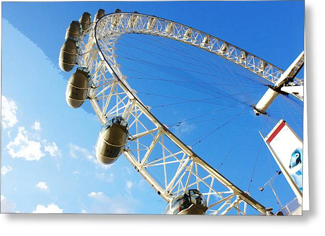 Londoneye Greeting Cards - Oil Painting - Slice of wheel of London Eye Greeting Card by Ashish Agarwal
