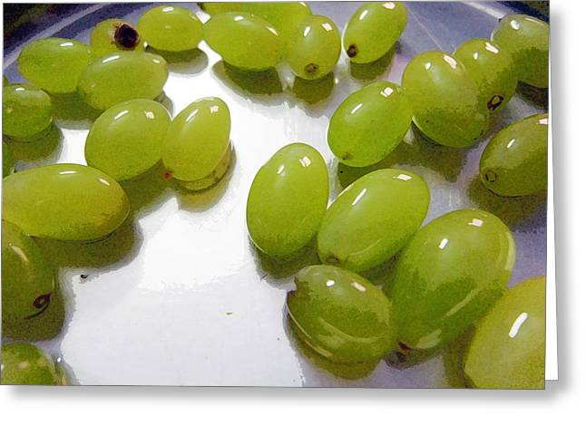 Food Greeting Cards - Oil Painting - Tasty wet grapes Greeting Card by Ashish Agarwal