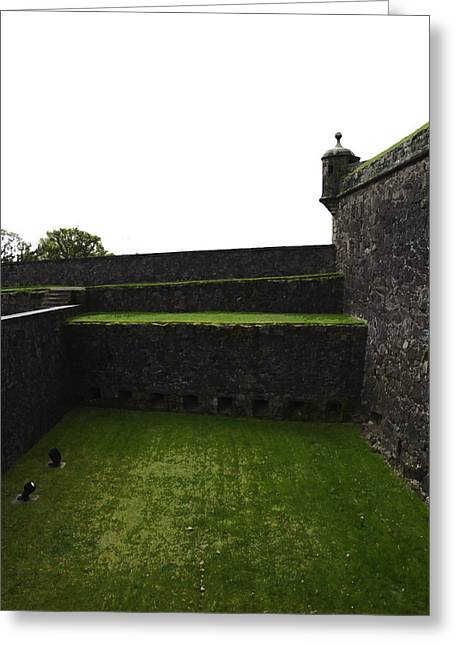 Oil Painting - The Depth Of The Moat Now Covered With Grass At Stirling Castle Greeting Card by Ashish Agarwal