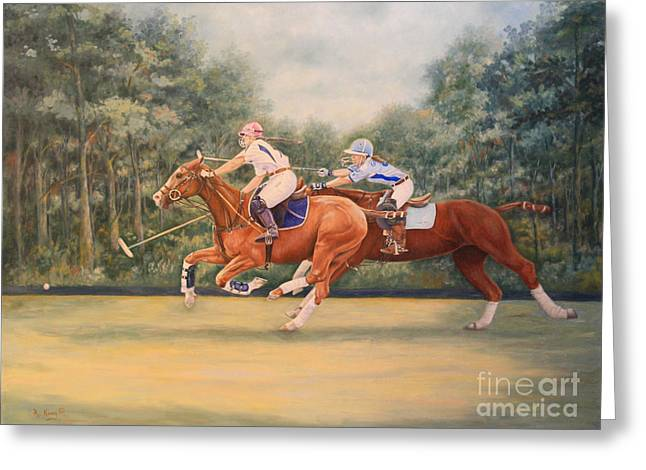 Zoology Greeting Cards - Oil Painting - A Polo Match Greeting Card by Roena King