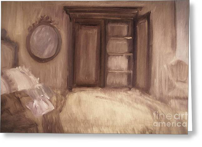 Digitally Altered Greeting Cards - Oil painting of a bedroom/ digitally painting Greeting Card by Sandra Cunningham