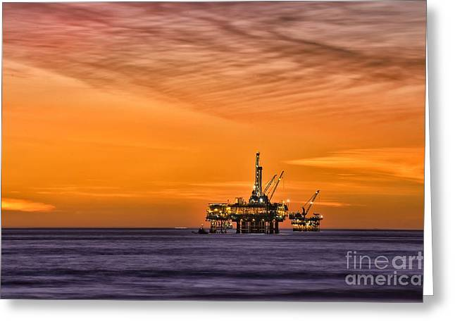 Oil Platform At Sunset  Greeting Card by Peter Dang