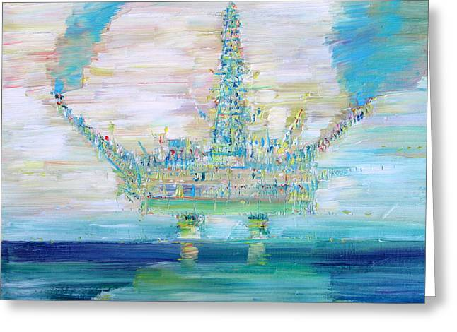 Sea Platform Paintings Greeting Cards - Oil Platform Greeting Card by Fabrizio Cassetta