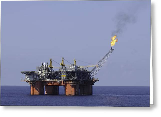Sea Platform Greeting Cards - Oil Production Platform With Flare Greeting Card by Bradford Martin