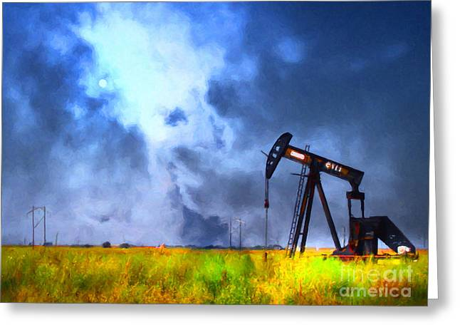 Wingsdomain Greeting Cards - Oil Pump Field Greeting Card by Wingsdomain Art and Photography