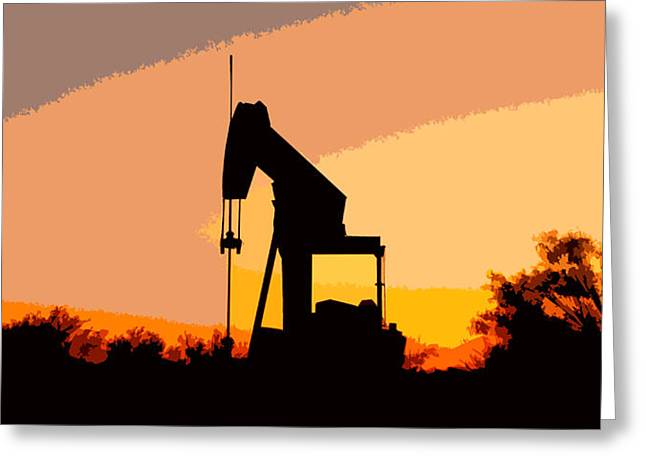 James R Granberry Greeting Cards - Oil Pump In Sunset Greeting Card by James Granberry