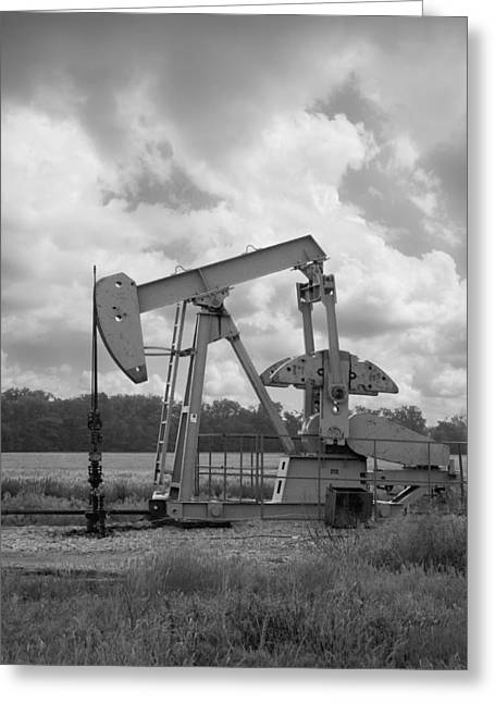 Prairie Sky Art Greeting Cards - Oil Pump Jack in Black and White photography Greeting Card by Ann Powell