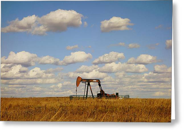 Landscape Oil Photographs Greeting Cards - Oil Pump Jack on the Prairie Greeting Card by Ann Powell