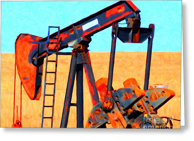 Oil Pump - Painterly Greeting Card by Wingsdomain Art and Photography