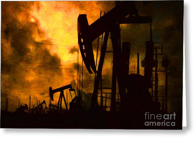 Wing Chee Tong Greeting Cards - Oil Pumps Greeting Card by Wingsdomain Art and Photography