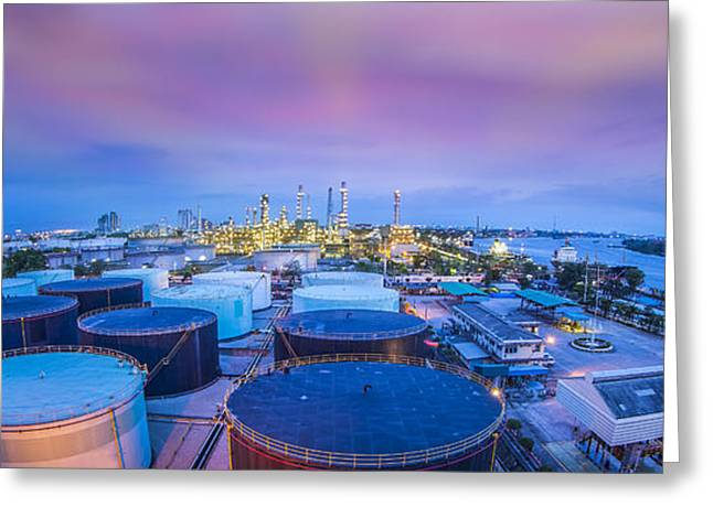 Gas Tower Greeting Cards - Oil Refinary Industry  Greeting Card by Anek Suwannaphoom