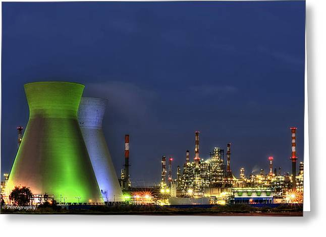 Isaac Silman Greeting Cards - Oil Refineries Greeting Card by Isaac Silman