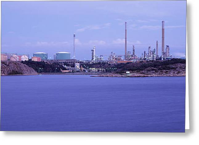 Refineries Greeting Cards - Oil Refinery At The Coast, Lysekil Greeting Card by Panoramic Images