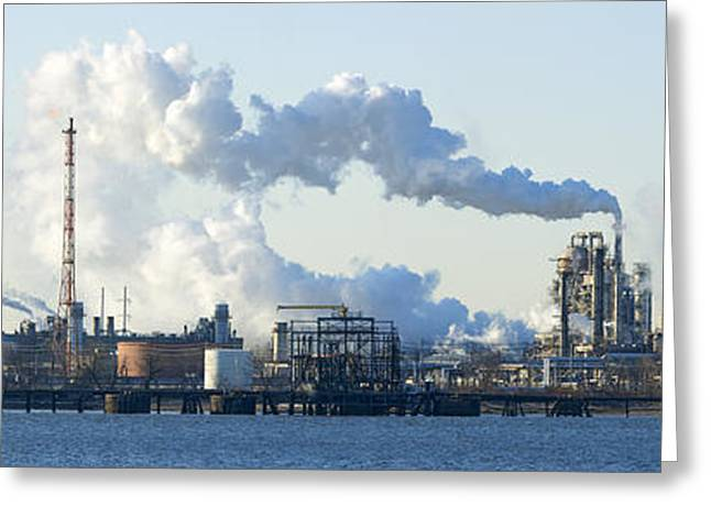 Refineries Greeting Cards - Oil Refinery At The Waterfront Greeting Card by Panoramic Images