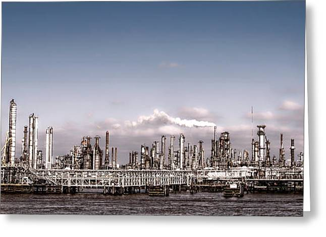 Landscape Oil Photographs Greeting Cards - Oil Refinery Greeting Card by Olivier Le Queinec