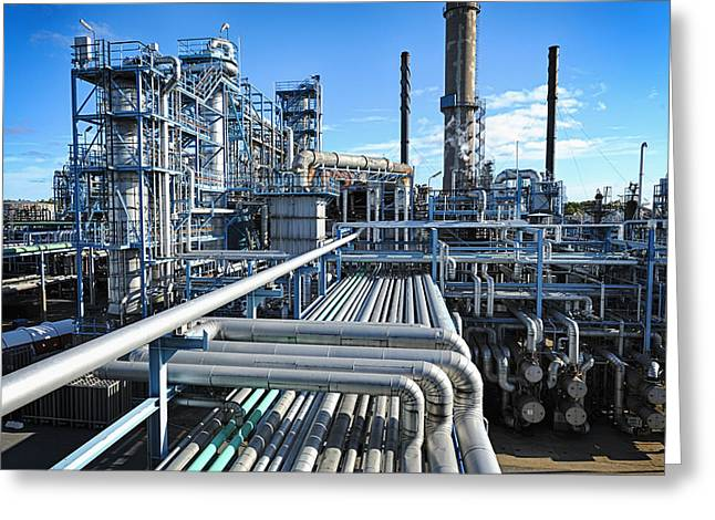 Petrochemical Greeting Cards - Oil Refinery Overall View Greeting Card by Christian Lagereek