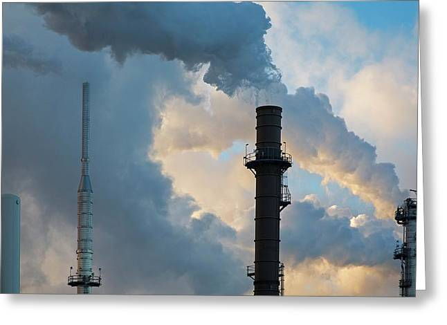 Oil Refinery Towers Greeting Card by Jim West