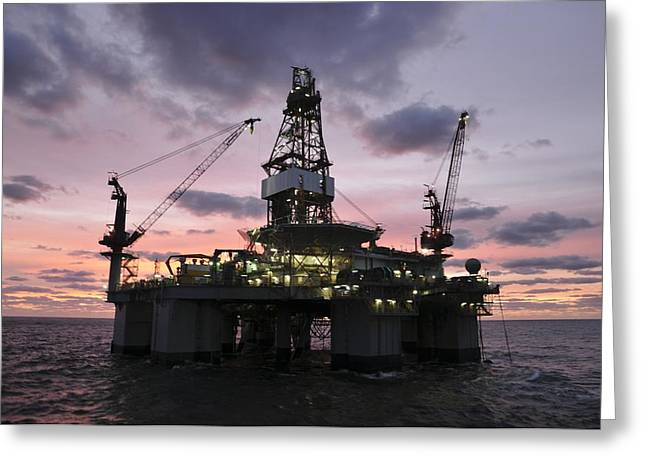 Oil Platform Greeting Cards - Oil rig at dawn Greeting Card by Bradford Martin