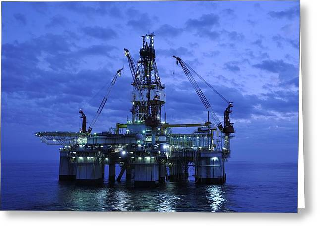Sea Platform Greeting Cards - Oil Rig At Twilight Greeting Card by Bradford Martin
